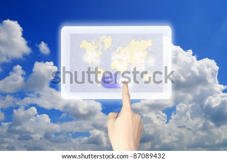 Hand push like button on table pc - stock photo