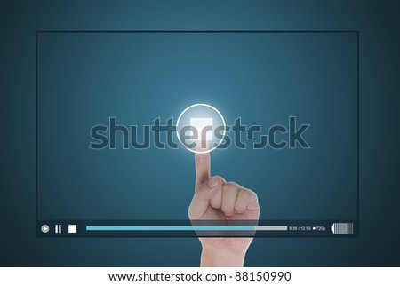 hand push stop button on touch screen to  end clip - stock photo