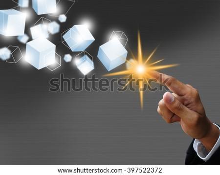 hand push virtual box - stock photo