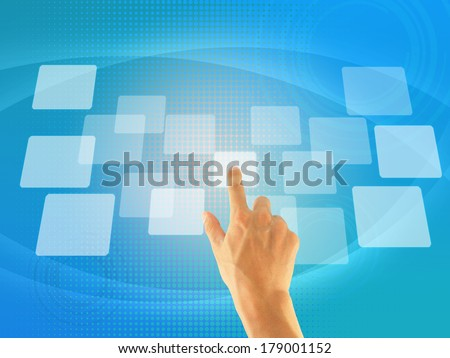 hand pushing a button on screen interface