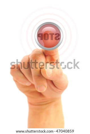 hand pushing a STOP button