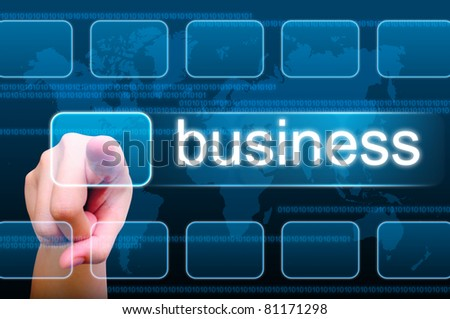 hand pushing business button on a touch screen interface