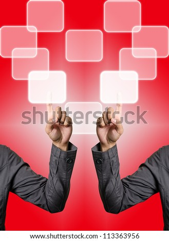 hand pushing button - stock photo