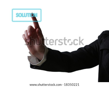 Hand pushing button - business concept (isolated on white background)