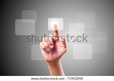 hand pushing button on touch screen - stock photo