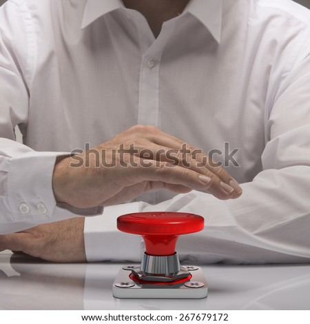hand pushing emergency button, white shirt and reflexion. symbol of urgency and problem solving - stock photo