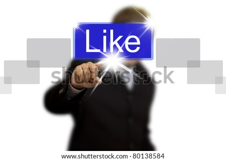 Hand pushing like button isolated - stock photo