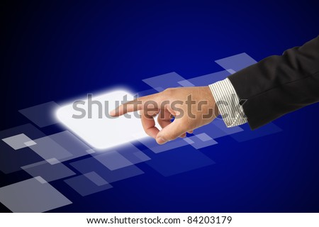 Hand pushing on a touch screen interface.