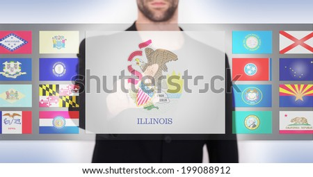 Hand pushing on a touch screen interface, choosing a state, Illinois - stock photo