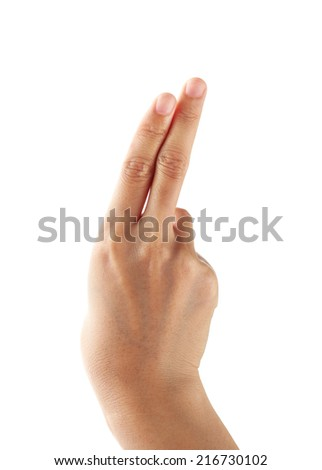 Hand pushing on a white background - stock photo