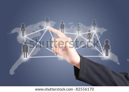 Hand pushing people social network communication. - stock photo