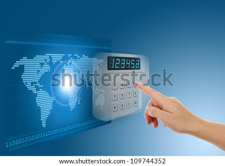 Hand pushing safe button with blue background with map - stock photo