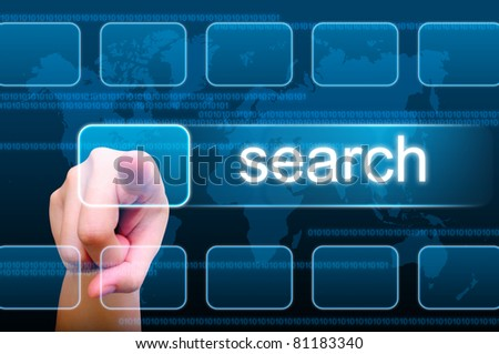 hand pushing search button on a touch screen interface