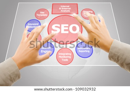 Hand pushing SEO process on the Touchscreen Interface. - stock photo