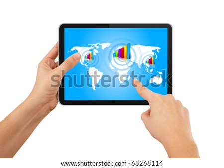 Hand pushing stock growth on tablet pc, isolated on white - stock photo