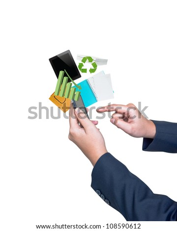 Hand pushing tablet on a touch screen blank interface - stock photo