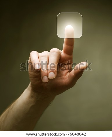 Hand pushing the button.Touchscreen. Choice concept - stock photo