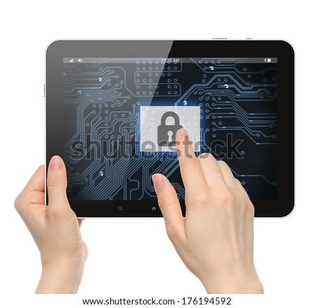 Hand pushing virtual security button on digital background of tablet PC - stock photo