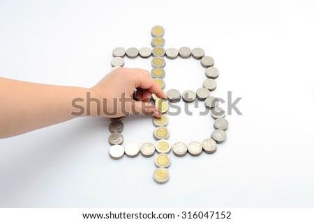 Hand put thai coin bath to money ,Business idea - stock photo