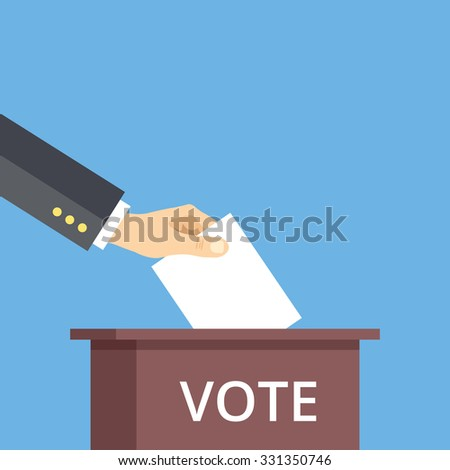 Hand put voting paper in ballot box. Voting flat illustration concept. Modern flat design concepts for web banners, web sites, printed materials, infographics. Creative flat illustration - stock photo