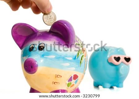 Hand putting money into a piggy bank - stock photo