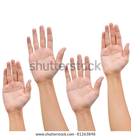 Hand raise up on white background ,business concept - stock photo