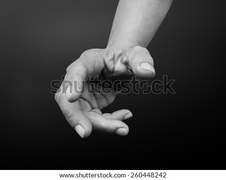 hand reaching for peace black and white - stock photo