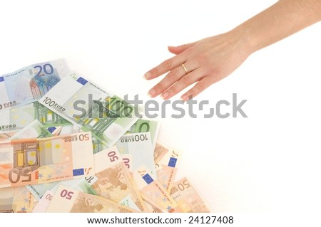 Hand reaching money - white background