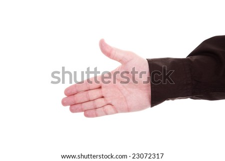Hand ready for shaking isolated on the white background - stock photo