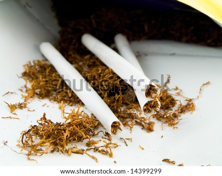 Hand Rolling Tobacco and Hand Rolled Cagarettes on White Background - stock photo