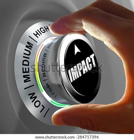 Hand rotating a button and selecting the level of impact. This concept illustration is a metaphor for estimating the level of impact. Three levels are available: low, medium and high. - stock photo