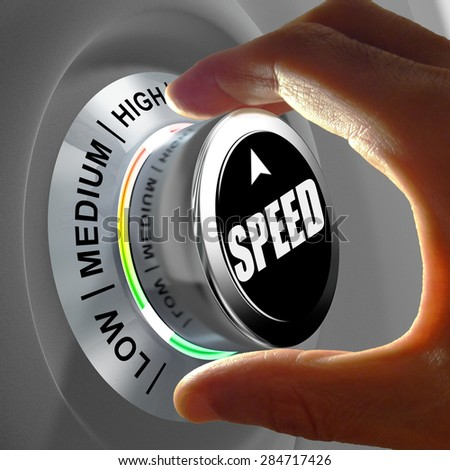 Hand rotating a button and selecting the level of speed. This concept illustration is a metaphor for choosing the level of speed (internet, data, processor...).  - stock photo