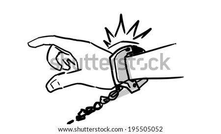 hand's fettered with handcuffs - illustration - stock photo