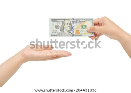 Hand's gesture giving and receiving one hundred dollars. - stock photo
