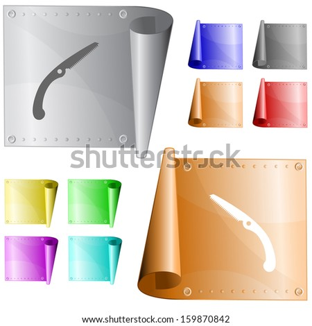 Hand saw. Raster metal surface. - stock photo