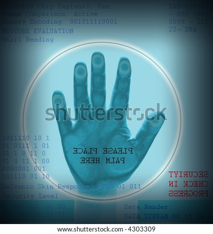 Hand scan for security admittance - stock photo