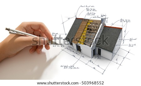 Hand scribbling on a house exposoing different layers of roof structure. the written notes in French indicate materias (slate, wooden plank) and other technical indications