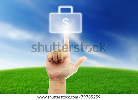 Hand select box button blue sky green grass many dollar money cash purse - stock photo