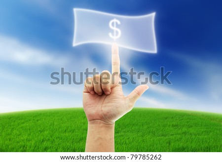 Hand select box button blue sky green grass money cash pay dollar - stock photo