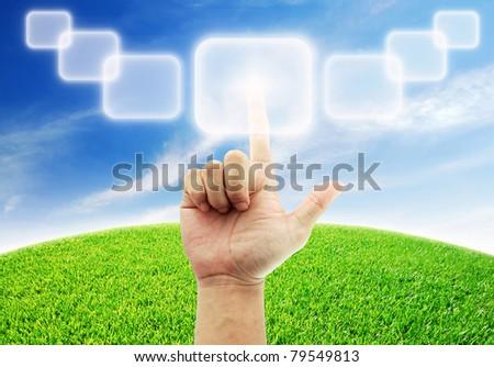 Hand select box button blue sky green grass sort - stock photo