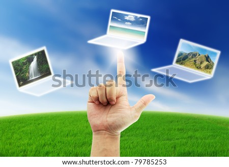 Hand select box button blue sky green grass sort  travel sea mountain waterfall - stock photo