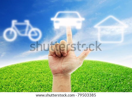 Hand select Car for Convenience in the future - stock photo