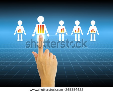 Hand select people with blue background. - stock photo