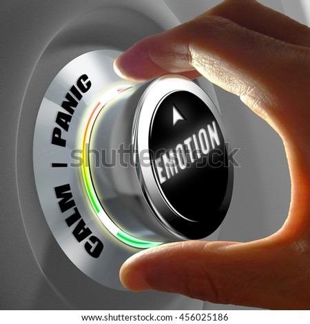 Hand selecting between calm and panic emotion. Concept of emotion control. 3D Rendering - stock photo