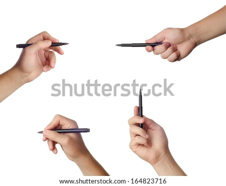 Hand set ready for drawing with black marker. Isolated on white. - stock photo