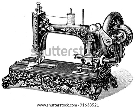 "Hand sewing machine Meissen - illustration from the encyclopedia publishers ""Education"", St. Petersburg, Russian Empire, 1896 - stock photo"