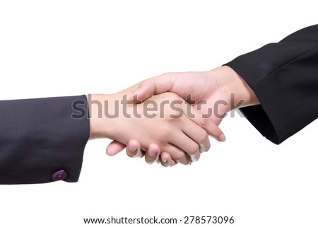 hand shake between a businessman and a businesswoman isolated on white - stock photo