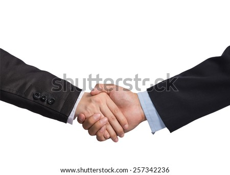 Hand shake between a businessman and a businesswoman on white background, include clipping path - stock photo