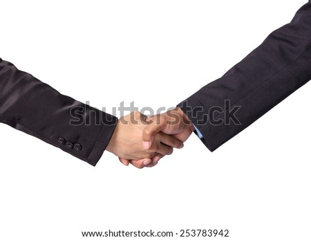 Hand shake between a businessman on white background - stock photo