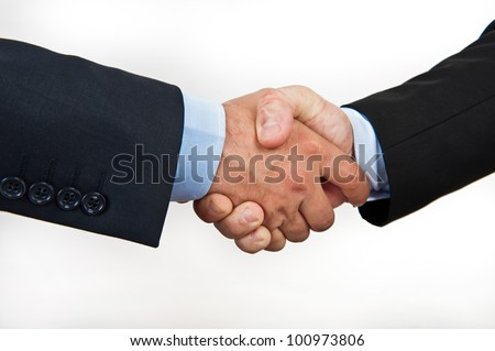 Hand shake between a businessmans isolated on white - stock photo